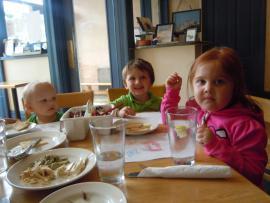 Sharing Their Pita & Crayons!
