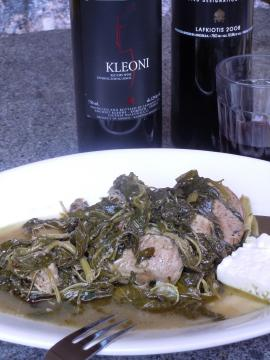 Summer Brain Food!  Heerinos me Horta: Braised Pork and Summer Greens
